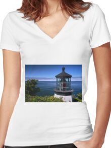 Cape Meares Lighthouse Women's Fitted V-Neck T-Shirt