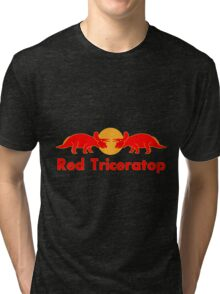 Prehistoric energy drink, Red Triceratop Tri-blend T-Shirt