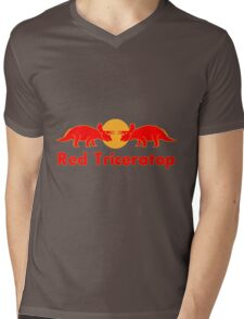 Prehistoric energy drink, Red Triceratop Mens V-Neck T-Shirt