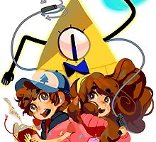 Dipper Mabel and Bill Cipher by highjinkx