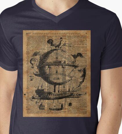 Victorian Steampunk Flying Machine Mens V-Neck T-Shirt