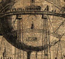 Victorian Steampunk Flying Machine Sticker