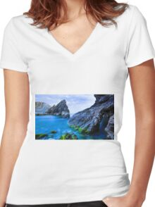 sexy lake with blue water Women's Fitted V-Neck T-Shirt