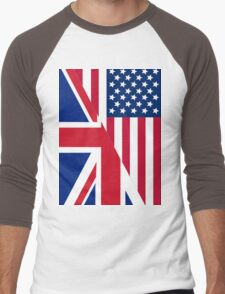 American and Union Jack Flag Men's Baseball ¾ T-Shirt