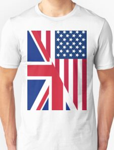 American and Union Jack Flag Unisex T-Shirt