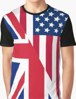 American and Union Jack Flag Graphic T-Shirt