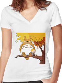 Parody Totoro, Calvin And The Hobbes Women's Fitted V-Neck T-Shirt