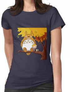 Parody Totoro, Calvin And The Hobbes Womens Fitted T-Shirt