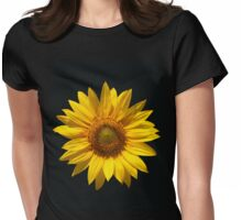 Beautiful sunflower on black background Womens Fitted T-Shirt