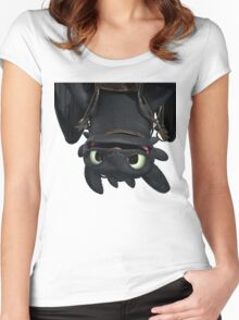 Upside Down Toothless Women's Fitted Scoop T-Shirt