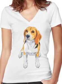 dog #5 Women's Fitted V-Neck T-Shirt