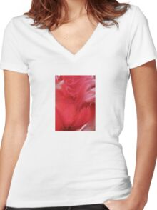 Red Petals Women's Fitted V-Neck T-Shirt