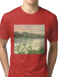 SUNSET OVER DAISY-MEADOW - A Dream of Peace may fill your Heart Tri-blend T-Shirt
