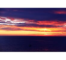 Boat in sunset Photographic Print