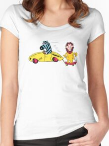 Blue Zebra Driving Car Towing Lion on Skateboard Women's Fitted Scoop T-Shirt