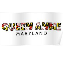 Queen Anne Maryland flag word art Poster