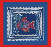 FUNNY RED BUBBLE-FISH IN THE BLUE - Magic-Pen-Design Baby Tee
