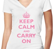 KEEP CALM and CARRY ON  Women's Fitted V-Neck T-Shirt