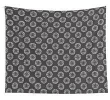 Pattern with abstract circles gradation, black and white Wall Tapestry