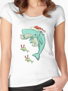 Christmas Whale Women's Fitted Scoop T-Shirt