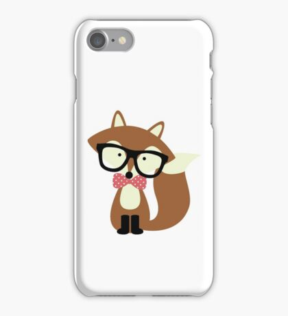 Red Bow Tie Hipster Fox iPhone Case/Skin