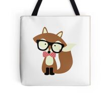 Red Bow Tie Hipster Fox Tote Bag