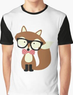 Red Bow Tie Hipster Fox Graphic T-Shirt