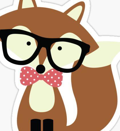Red Bow Tie Hipster Fox Sticker