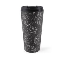 Pattern with abstract circles gradation, black and white Travel Mug