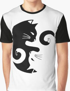 Yin Yang Cats Graphic T-Shirt