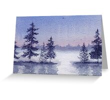 Misty Winter Lake Greeting Card
