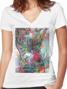 in the colors  Women's Fitted V-Neck T-Shirt