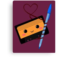 Cassette love Canvas Print