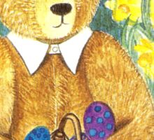 HAPPY EASTER-TEDDYBEAR WITH EGS IN BASKET - Watercolour-Design Sticker