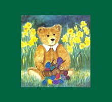 HAPPY EASTER-TEDDYBEAR WITH EGS IN BASKET - Watercolour-Design Womens Fitted T-Shirt