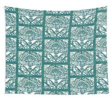 Watchers an Eyes Tangle Lino Cut Green Monoprint Wall Tapestry