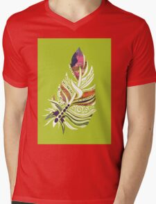 Lime Love! Fun and Funky, Fanciful Feather Mens V-Neck T-Shirt