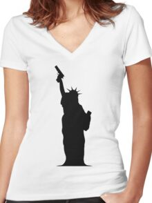 Lady Liberty with Gun Women's Fitted V-Neck T-Shirt