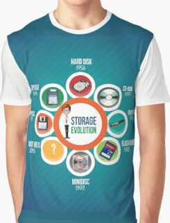 Infographic Storage Evolution cd rom zip disk ram memory floppy disc minidisc  Graphic T-Shirt