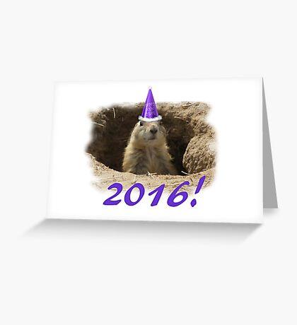 Prairie Dog New Year 2016 Greeting Card