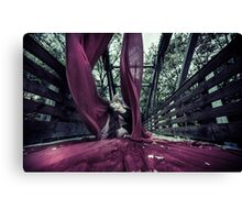 Yoga Posses with Aerial Silks on a Bridge Canvas Print