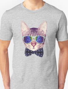 Hipster Cat with Glasses and Bow Tie Sticker Unisex T-Shirt