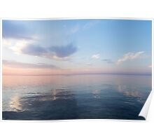 Silky Satin on the Lake - Blue and Pink Serenity  Poster