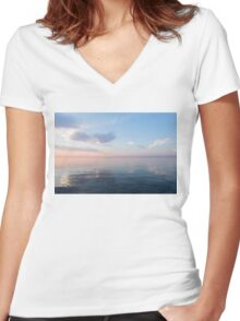 Silky Satin on the Lake - Blue and Pink Serenity  Women's Fitted V-Neck T-Shirt