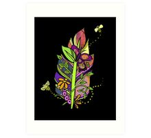 Honeybees Abound! Fun and Funky, Fanciful Feather Art Print