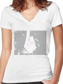 Snow Cat Whiteout Women's Fitted V-Neck T-Shirt