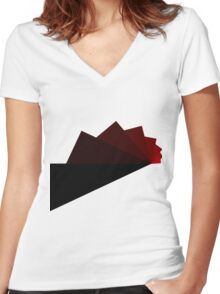 Trig - Red Women's Fitted V-Neck T-Shirt