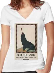 Vintage poster - London Zoo Women's Fitted V-Neck T-Shirt