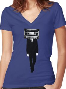 Retro tape head Women's Fitted V-Neck T-Shirt