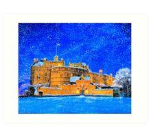 Edinburgh Castle On A Snowy Winter Night Art Print